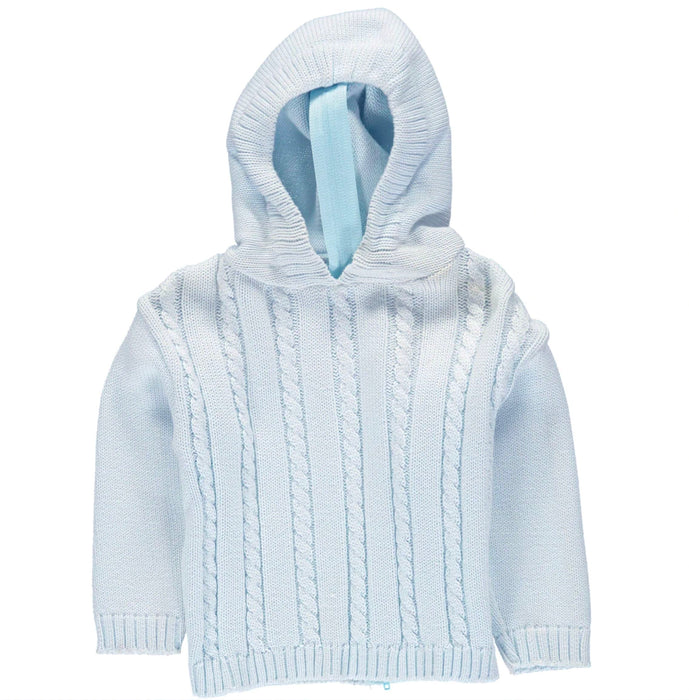 Cable Knit Back Zip Sweaters Boutique Collection Blue 12m