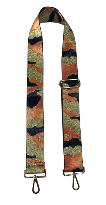 Camo Guitar Straps Purse Strap Ahdorned Navy Orange Gold Camo