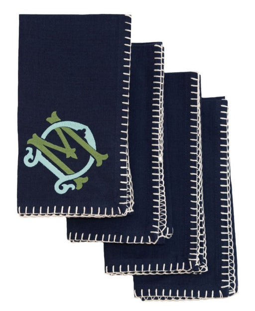 Celena Cotton Dinner Napkins - Set of 4 Dinner Napkins Saro Navy