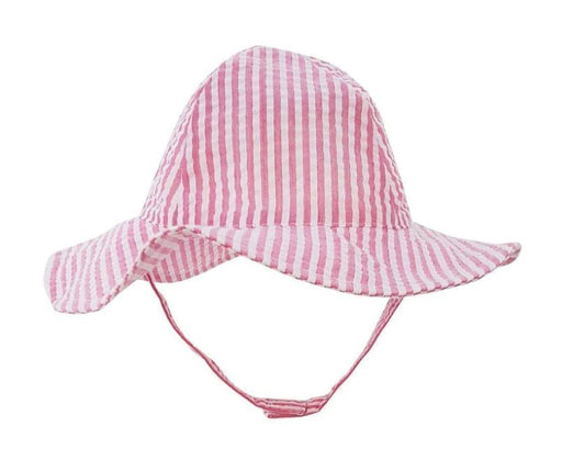 Children's Sunhat - Girls Hats Huggalugs Pink Seersucker 0-6m