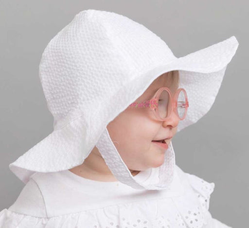 Children's Sunhat - Girls Hats Huggalugs White Seersucker 0-6m