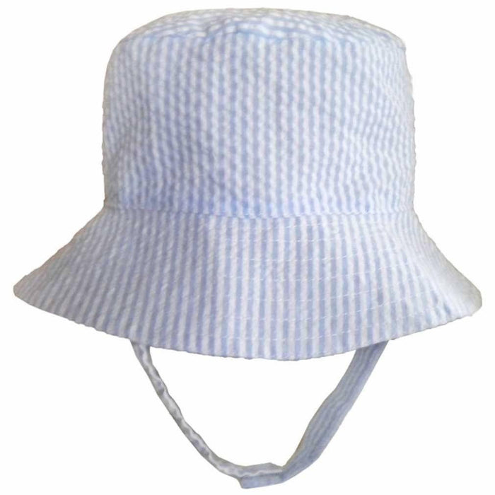 Children's Sunhat Hats Huggalugs Blue Seersucker 0-6m