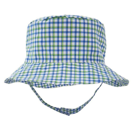 Children's Sunhat Hats Huggalugs Green and Blue Gingham 0-6m