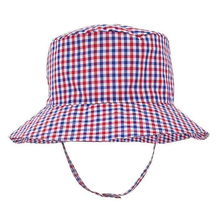 Children's Sunhat Hats Huggalugs Red and Navy Gingham 0-6m
