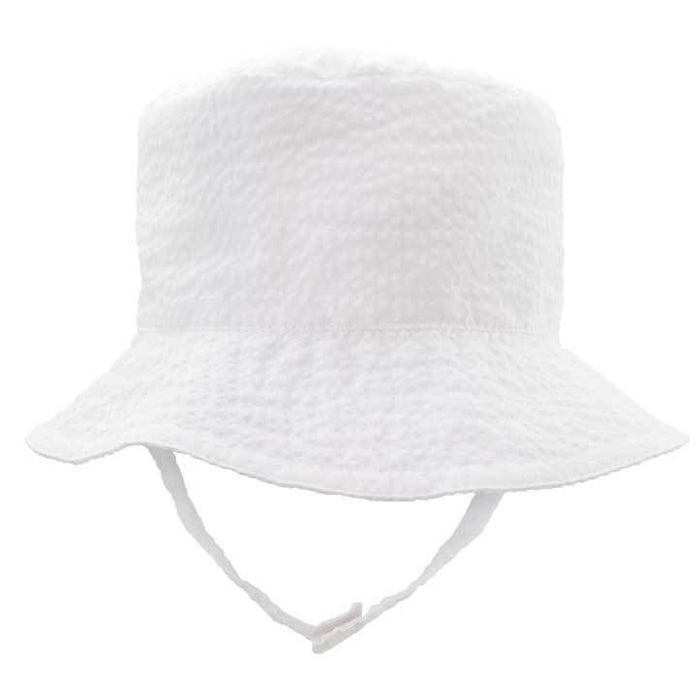 Children's Sunhat Hats Huggalugs White Seersucker 0-6m