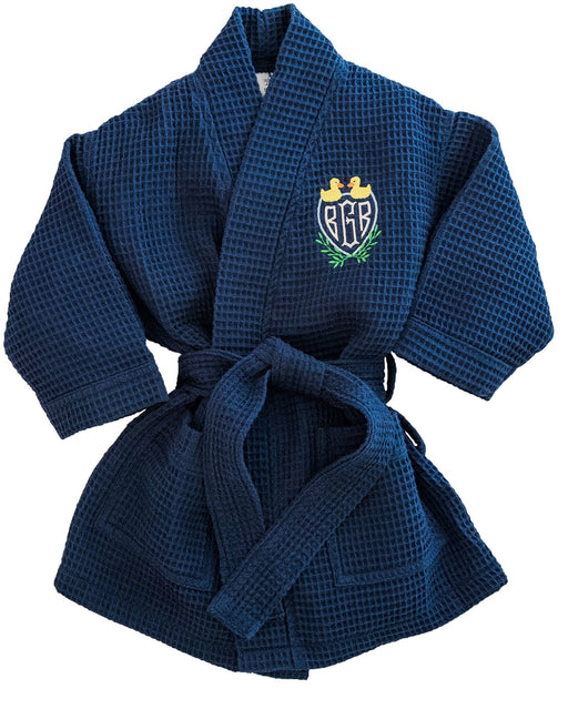Children's Waffle Robe Robes Pendergrass Navy Small 2-4