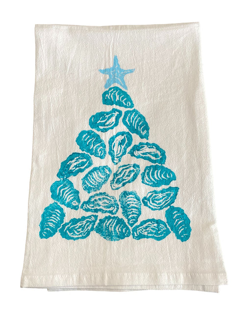 Christmas Hand Printed Kitchen Towels Kitchen Towel Low Country Linens Caribbean Oyster Tree