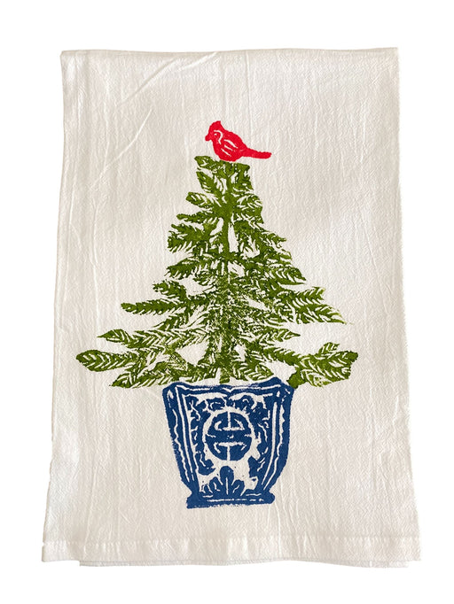 Christmas Hand Printed Kitchen Towels Kitchen Towel Low Country Linens Spruce Tree