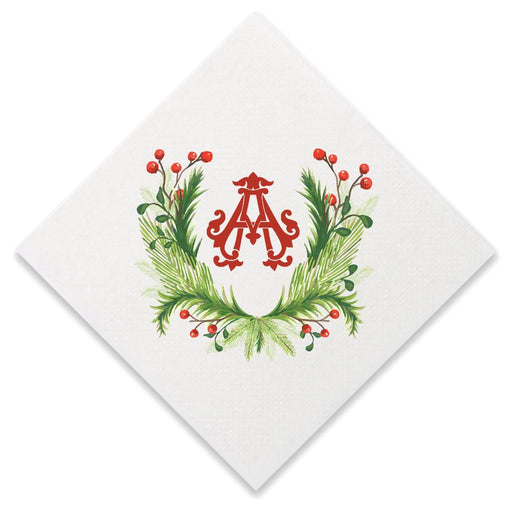 Christmas Single Initial Cocktail Napkins Paper Napkins Print Appeal A