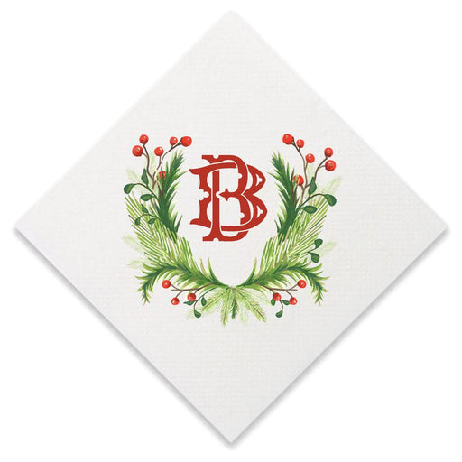 Christmas Single Initial Cocktail Napkins Paper Napkins Print Appeal B