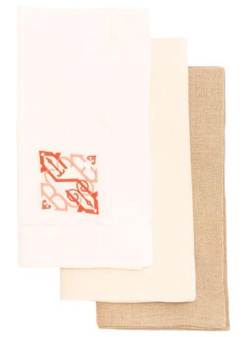 Cotton and Linen Blend Hemstitch Dinner Napkins - Set of 4 Dinner Napkins Misc Ecru