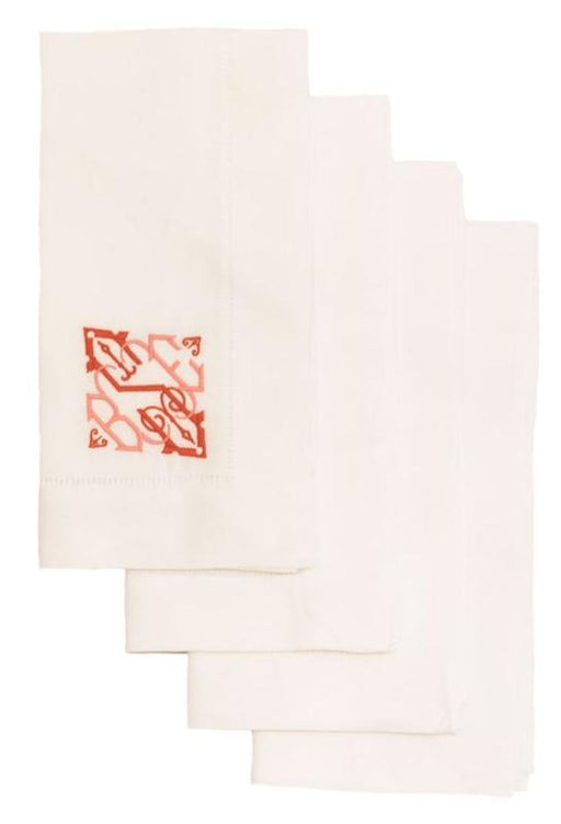 Cotton and Linen Blend Hemstitch Dinner Napkins - Set of 4 Dinner Napkins Misc White