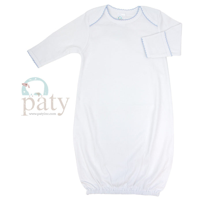 Cotton Day Gown Gowns Paty White with Blue Trim 0-3m