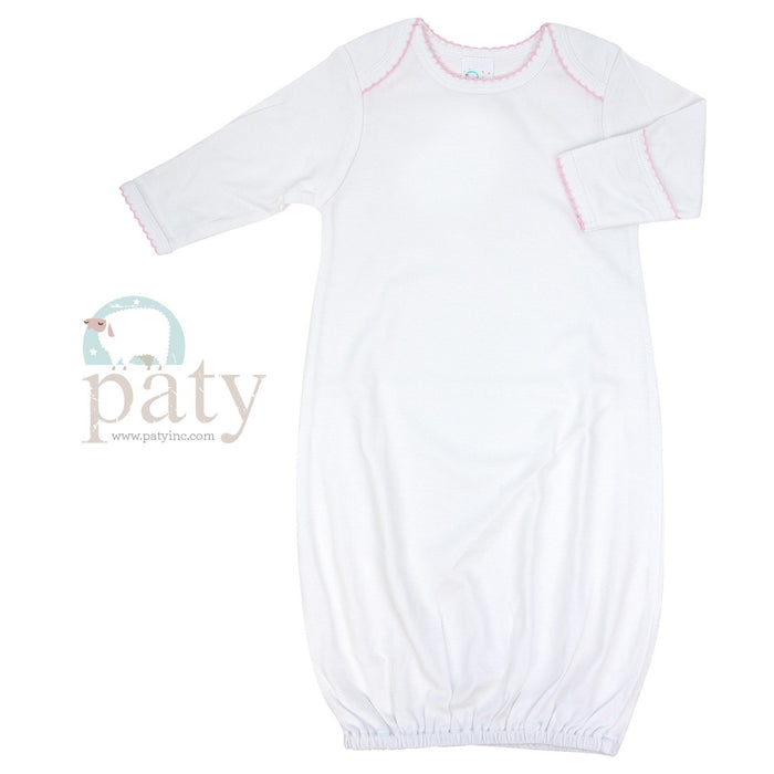 Cotton Day Gown Gowns Paty White with Pink Trim 0-3m