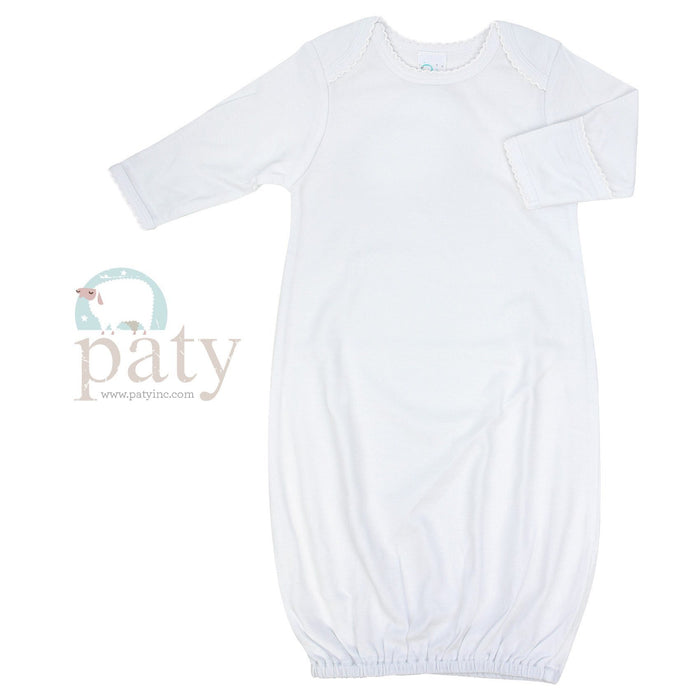 Cotton Day Gown Gowns Paty White with White Trim 0-3m