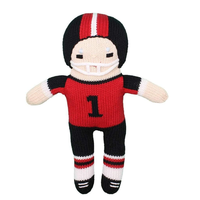 Crochet Football Player Dolls Zubels Large Red/Black