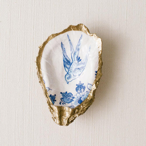Decoupage Oyster Ring Dish Oyster Dish Grit and Grace Studio Blue Bird