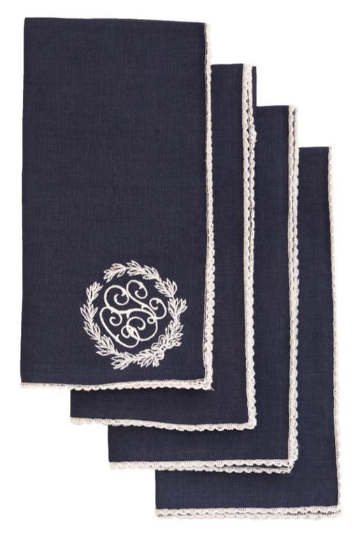 Dinner Napkins with Piped Edge - Set of 4 Dinner Napkins Duc Star Navy