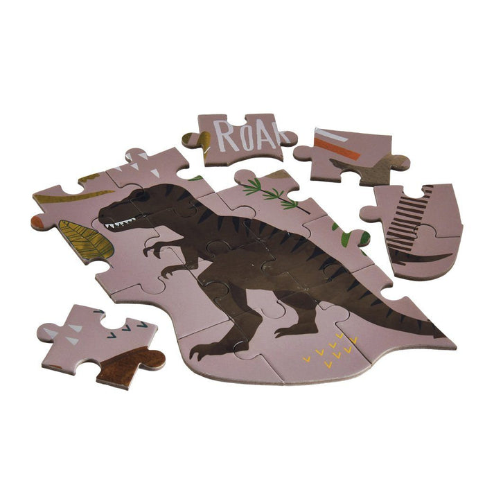 Dino Puzzle - 80 Piece Puzzle Floss and Rock