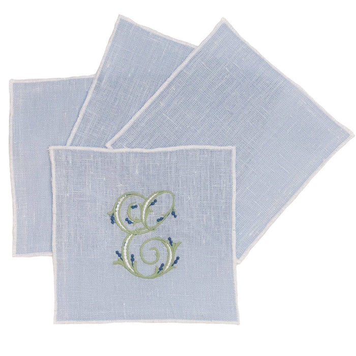 Duet Cocktail Napkins - Set of 4 Cocktail Napkins Linen Way Blue with White Trim