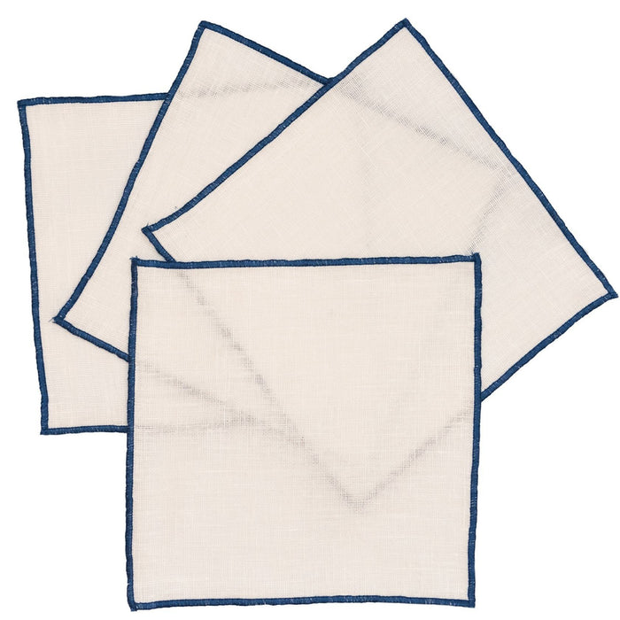 Duet Cocktail Napkins - Set of 4 Cocktail Napkins Linen Way White with Blue Trim