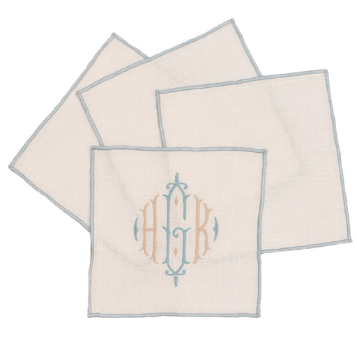 Duet Cocktail Napkins - Set of 4 Cocktail Napkins Linen Way White with Marine Trim
