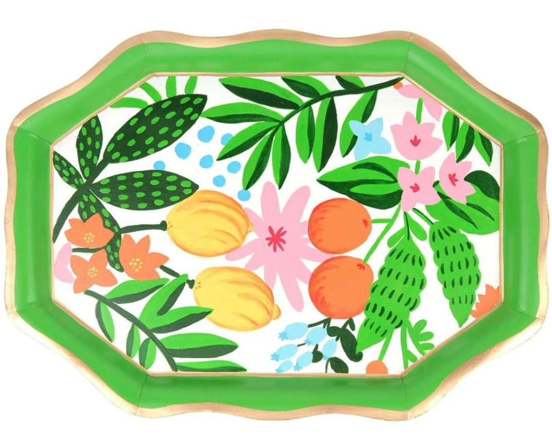 Floral Fruit Tea Tray Serving Pieces Jayes Studio