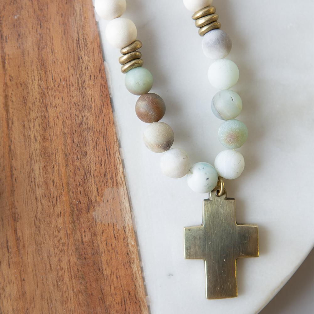 Gemstone Cross Necklace - Amazonite Necklace Stone and Stick