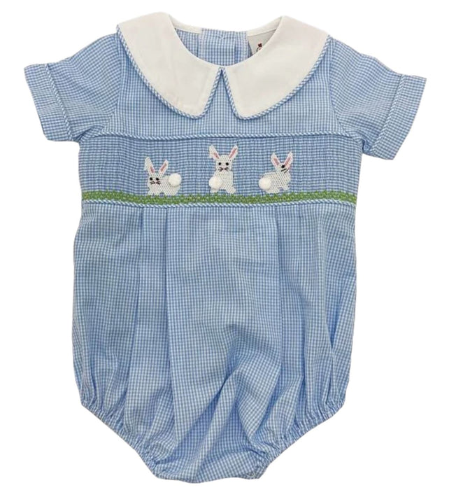 Gingham Smocked Easter Bunny Bubble Clothing Delaney
