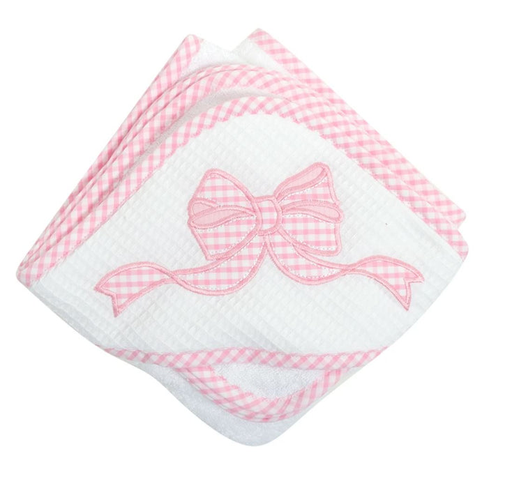 Girl Applique Hooded Towel + Washcloth Set Hooded Bath Towels 3 Marthas Bow