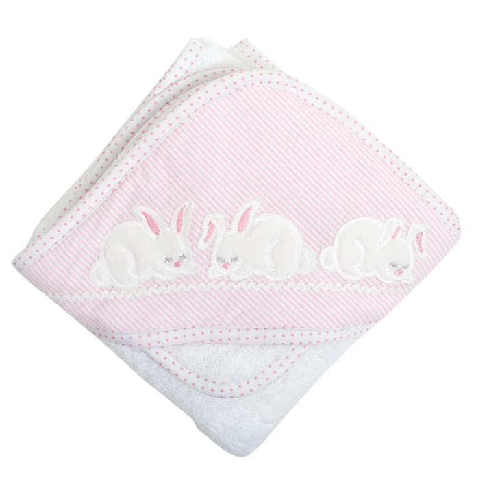 Girl Applique Hooded Towel + Washcloth Set Hooded Bath Towels 3 Marthas Pink Bunny