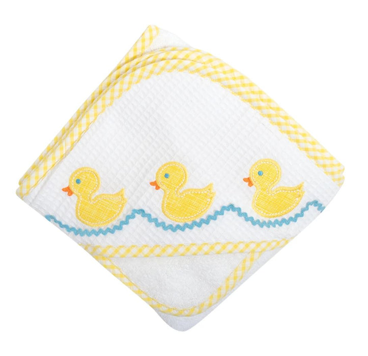 Girl Applique Hooded Towel + Washcloth Set Hooded Bath Towels 3 Marthas Yellow Duck
