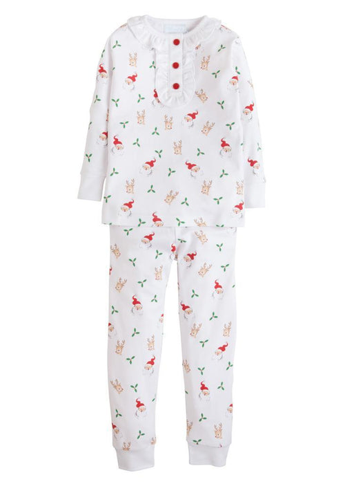 Girl Santa and Reindeer Printed Jammies Pajamas Little English