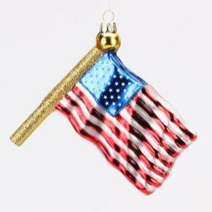 Glass American Flag Ornament Ornament 180 Degrees
