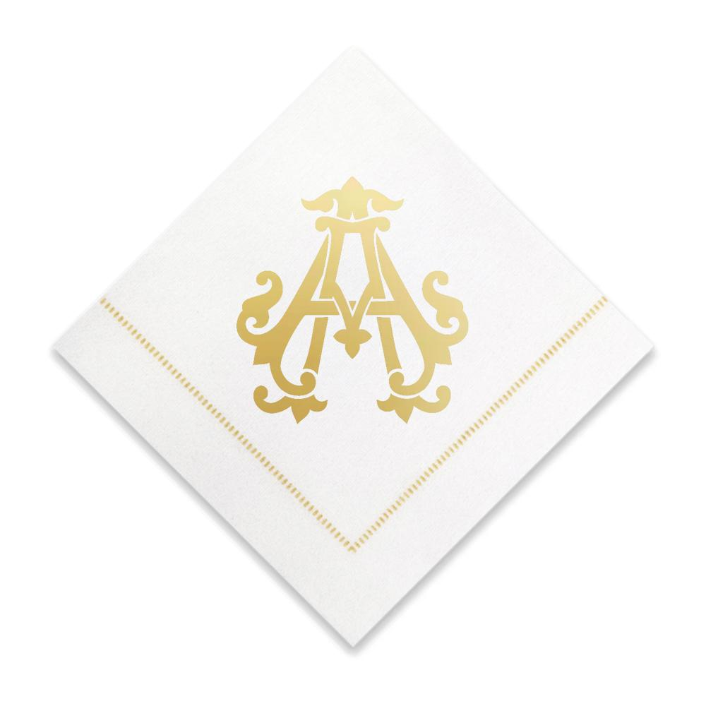 Gold Cocktail Napkins- Single Initial Paper Napkins Print Appeal A