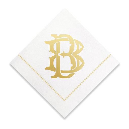 Gold Cocktail Napkins- Single Initial Paper Napkins Print Appeal B
