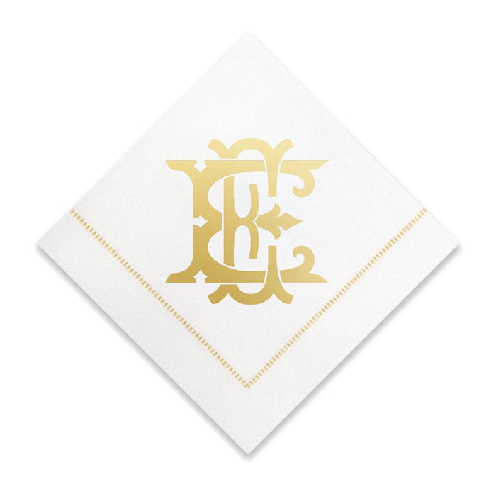 Gold Cocktail Napkins- Single Initial Paper Napkins Print Appeal E
