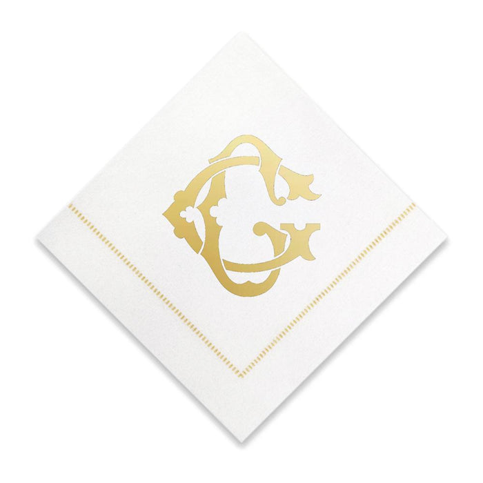 Gold Cocktail Napkins- Single Initial Paper Napkins Print Appeal G