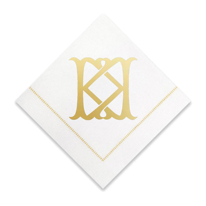 Gold Cocktail Napkins- Single Initial Paper Napkins Print Appeal K