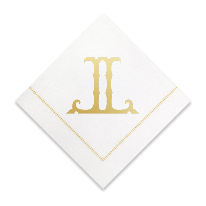 Gold Cocktail Napkins- Single Initial Paper Napkins Print Appeal L