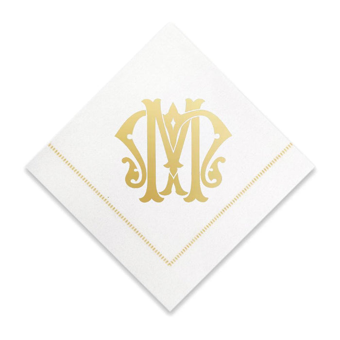 Gold Cocktail Napkins- Single Initial Paper Napkins Print Appeal M