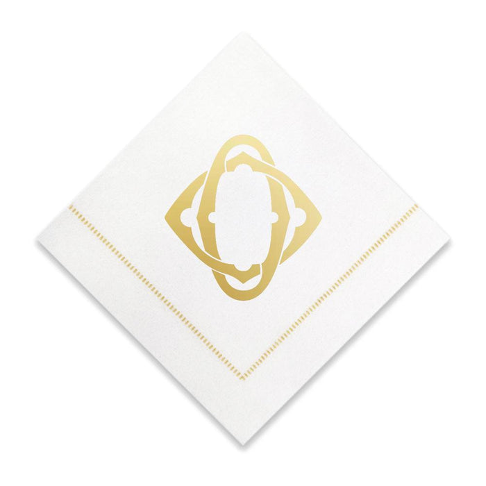 Gold Cocktail Napkins- Single Initial Paper Napkins Print Appeal O