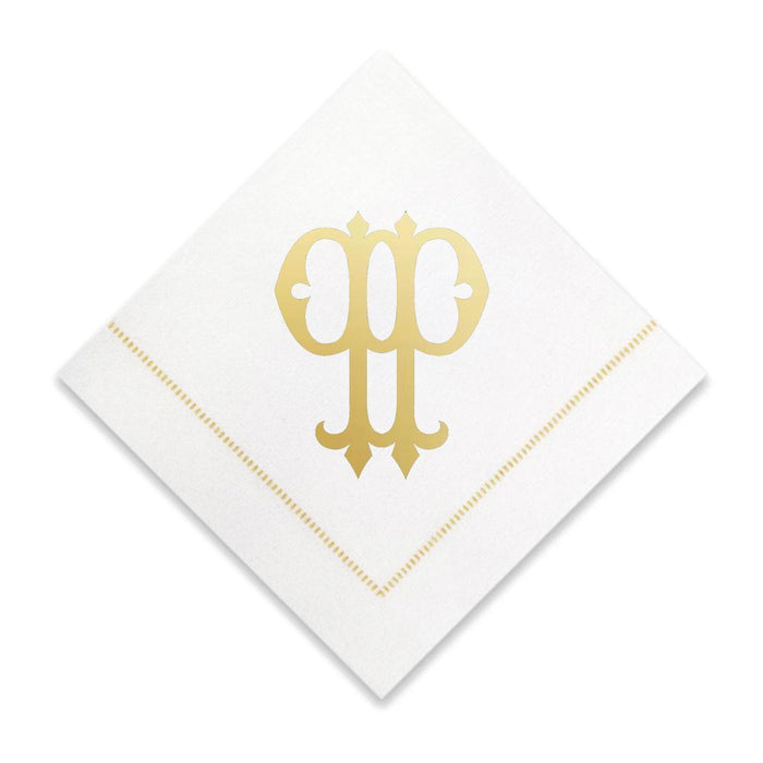 Gold Cocktail Napkins- Single Initial Paper Napkins Print Appeal P