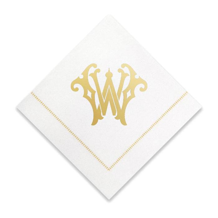 Gold Cocktail Napkins- Single Initial Paper Napkins Print Appeal W