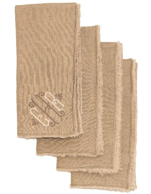 Graciella Linen Dinner Napkins - Set of 4 Dinner Napkins Saro Natural