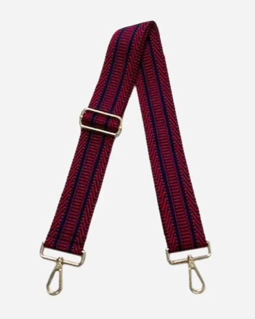 Guitar Straps Purse Strap Ahdorned Red and Navy Aztec