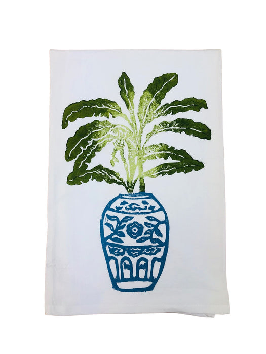 Hand Printed Kitchen Flour Sack Towels Kitchen Towel Low Country Linens Banana Tree in Denim Jar