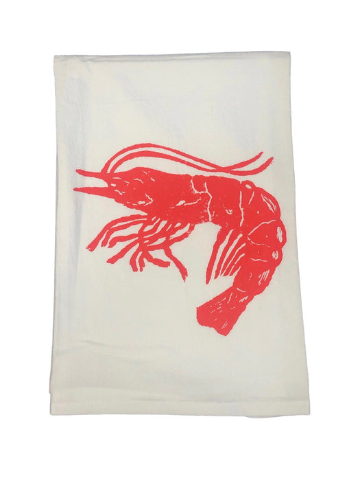 Hand Printed Kitchen Flour Sack Towels Kitchen Towel Low Country Linens Coral Shrimp