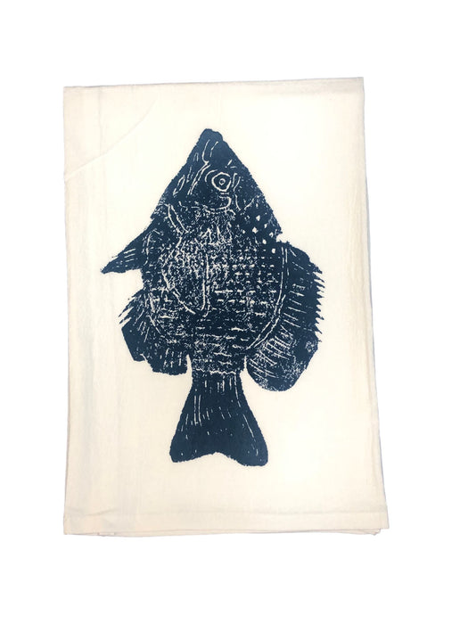 Hand Printed Kitchen Flour Sack Towels Kitchen Towel Low Country Linens Fish in Denim