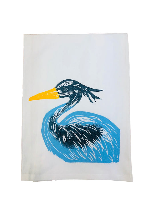 Hand Printed Kitchen Flour Sack Towels Kitchen Towel Low Country Linens Heron in New Blue